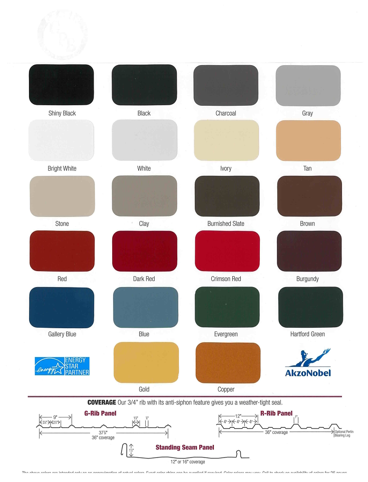 color chart for pole buildings